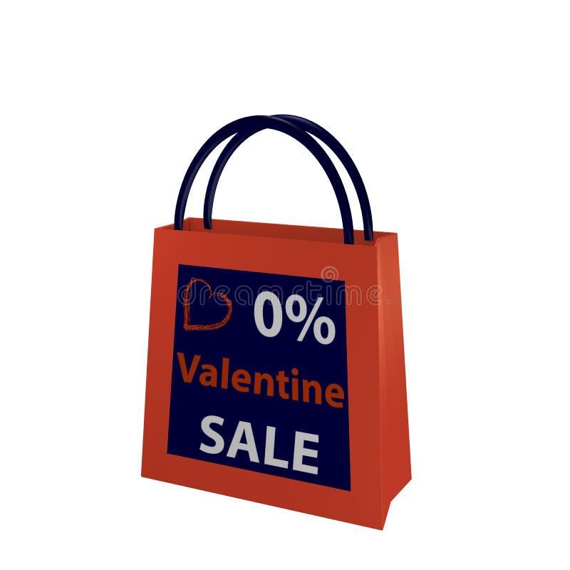 Valentins bag in orange-blue with the lettering Valentin Sale. 3d render vector illustration