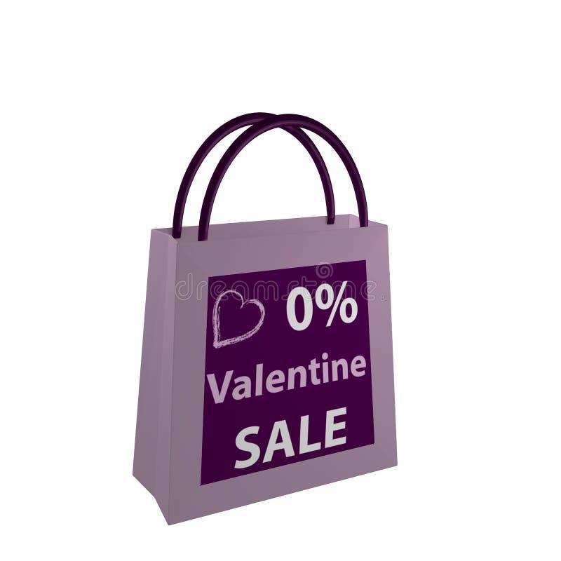 Valentins bag in purple with the lettering Valentin Sale. 3d render royalty free illustration