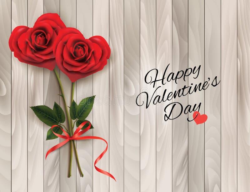 Valentins bakgrund med röd hjärta två formade rosor och trätecknet royaltyfri illustrationer