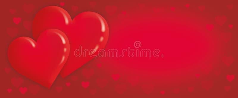 Valentins dag, älskar bakgrund med röda hjärtor vektor illustrationer