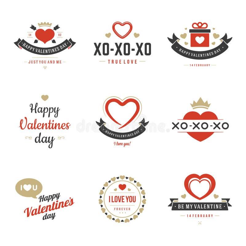 Valentins dag märker, emblem, hjärtasymbolsvektor stock illustrationer