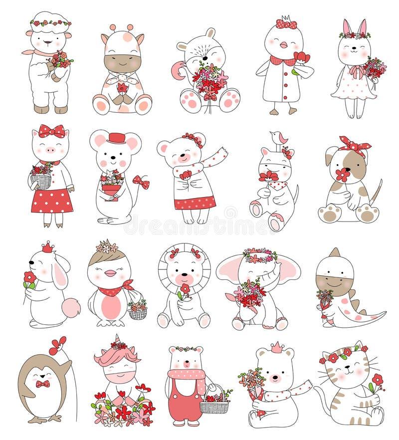 Valentins dag med gulligt behandla som ett barn utdragen stil för djur tecknad filmhand stock illustrationer