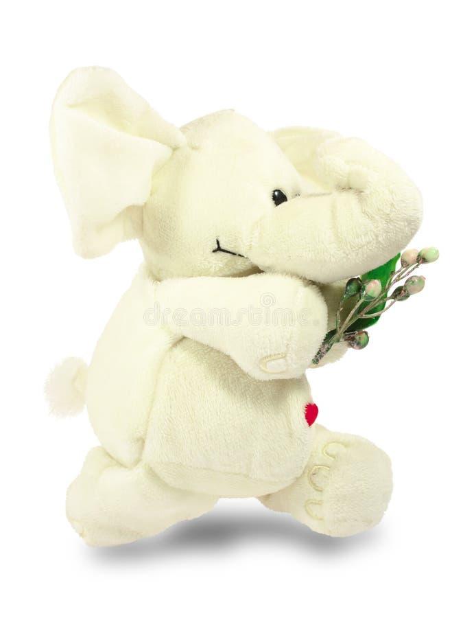 Valentins dag, röd hjärta, den vita flotta elefanten, kommer med en grön filial arkivbilder
