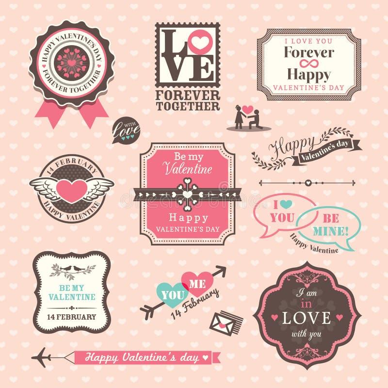 Valentins dagbeståndsdelar märker och inramar tappningstil royaltyfri illustrationer