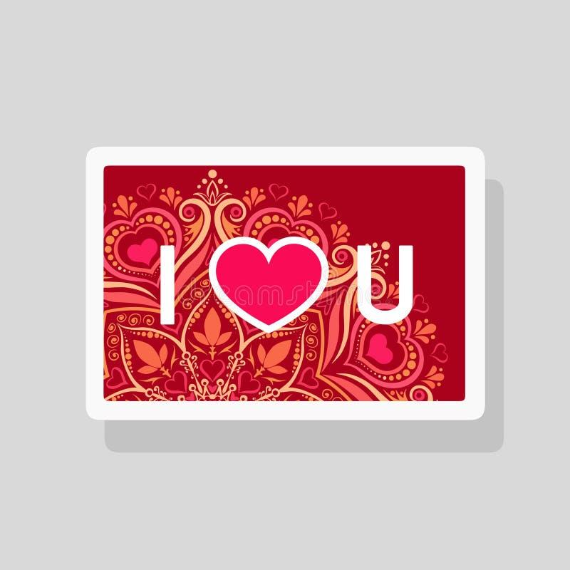 Valentins kortet för daghälsningen älskar jag dig med förkortad text- och hjärtaform på mandalabakgrund vektor illustrationer