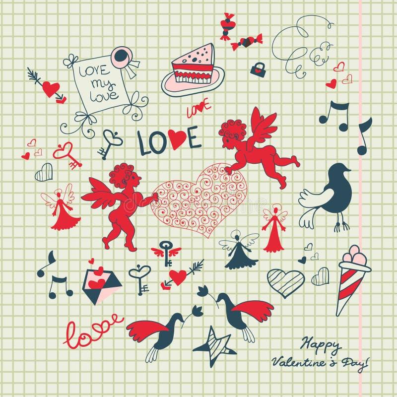 Valentins sidan för dagurklippsboken med förälskelse skissar stock illustrationer
