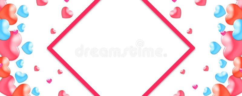 Valentinsgrüße entwerfen, bunte Herzen auf weißem Hintergrund mit Grenze und Kopienraum Valentinstag, lizenzfreie abbildung