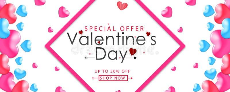 Valentinsgrüße entwerfen, rosa Herzen auf weißem Hintergrund, glücklicher Valentinstagtext in der Mitte mit Grenze, 50% Rabatt-An lizenzfreie abbildung