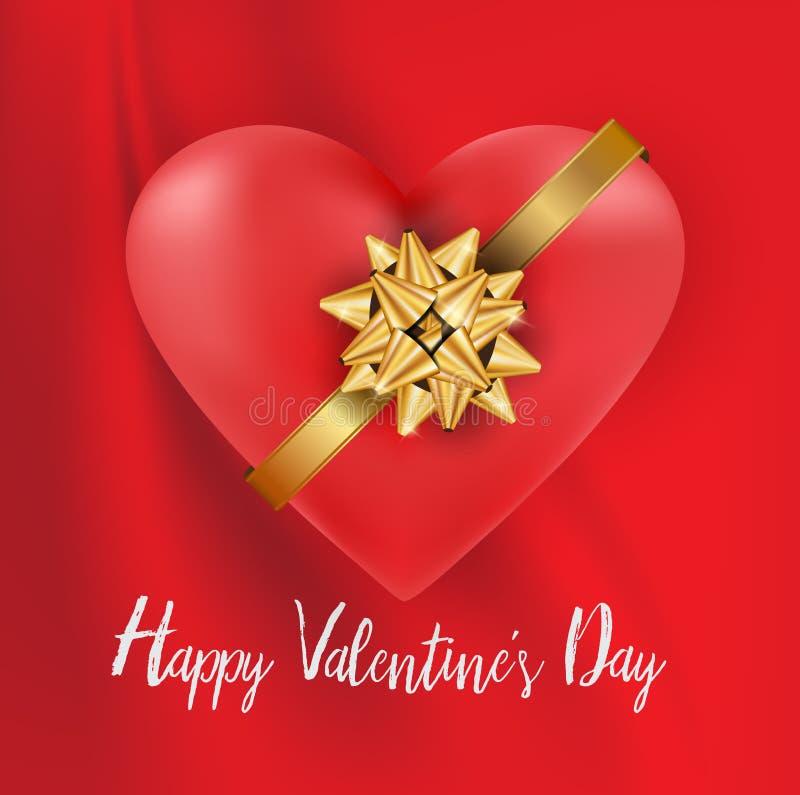 Valentinsgrüße Herz und Gold beugen weißen Text auf geplätschertem rotem silk tollem stock abbildung