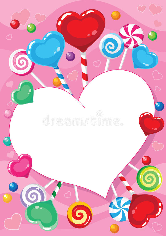 Valentinsgrüße kardieren mit Süßigkeit lizenzfreie abbildung