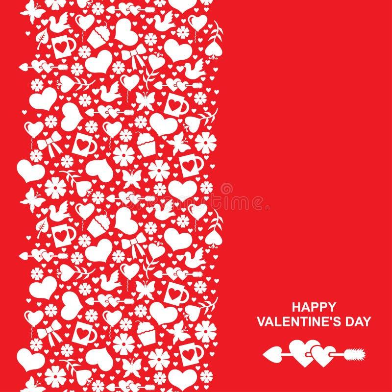 Valentinsgrüße kardieren mit vertikaler Valentinsgrußverzierung lizenzfreie abbildung