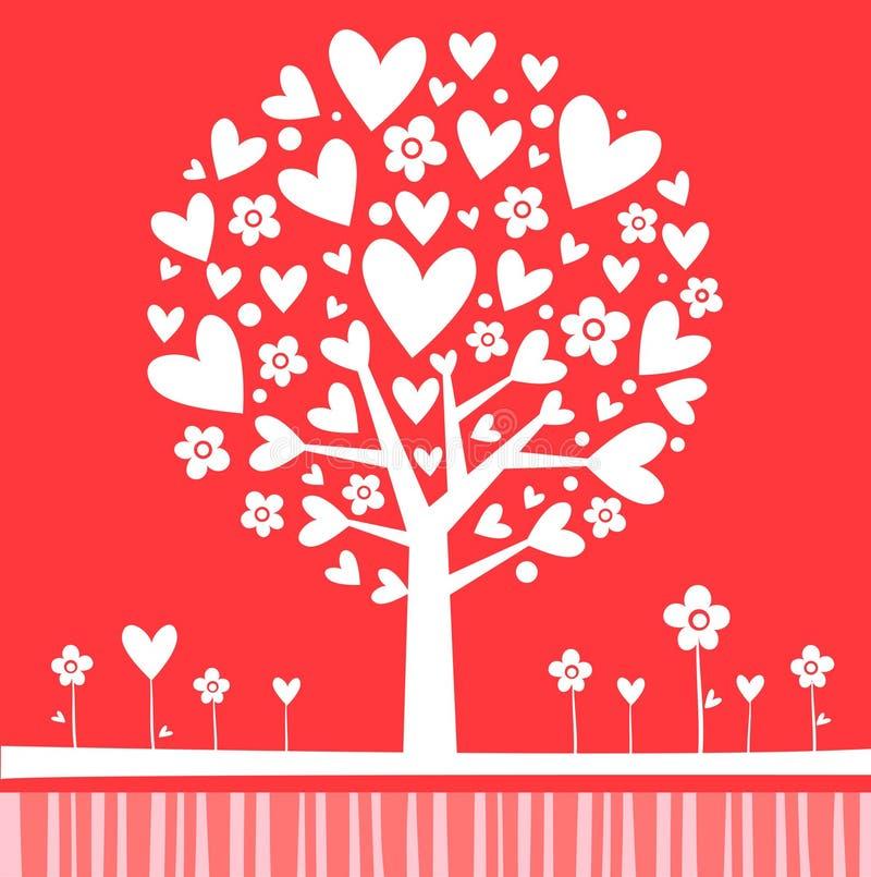 Valentinsgruß-Baum-Rosa vektor abbildung