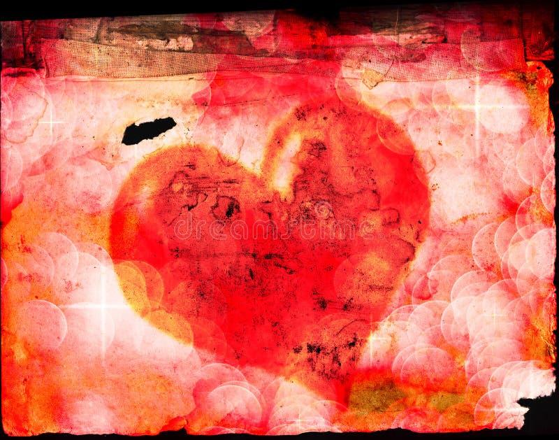 Valentinsgruß-Herz auf altem Papier lizenzfreies stockbild