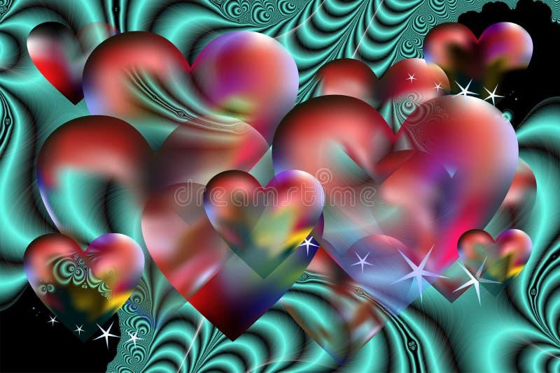 Valentinsgruß Hintergrund und Fractals vektor abbildung