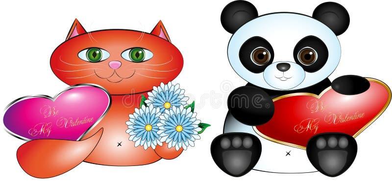 Valentinsgruß kardiert Katze und Panda vektor abbildung
