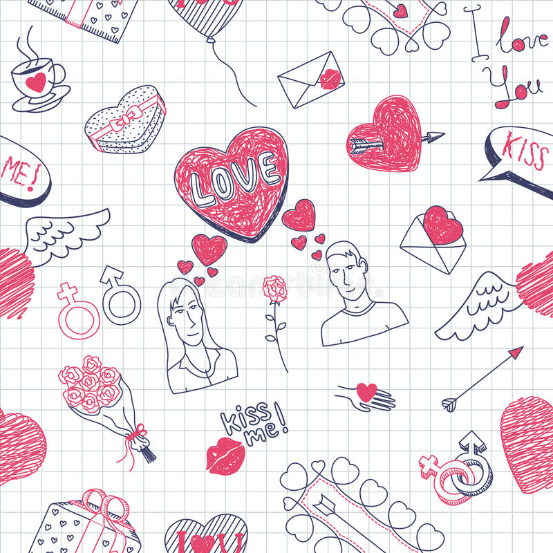 Valentinsgruß kritzelt nahtloses Muster lizenzfreie abbildung