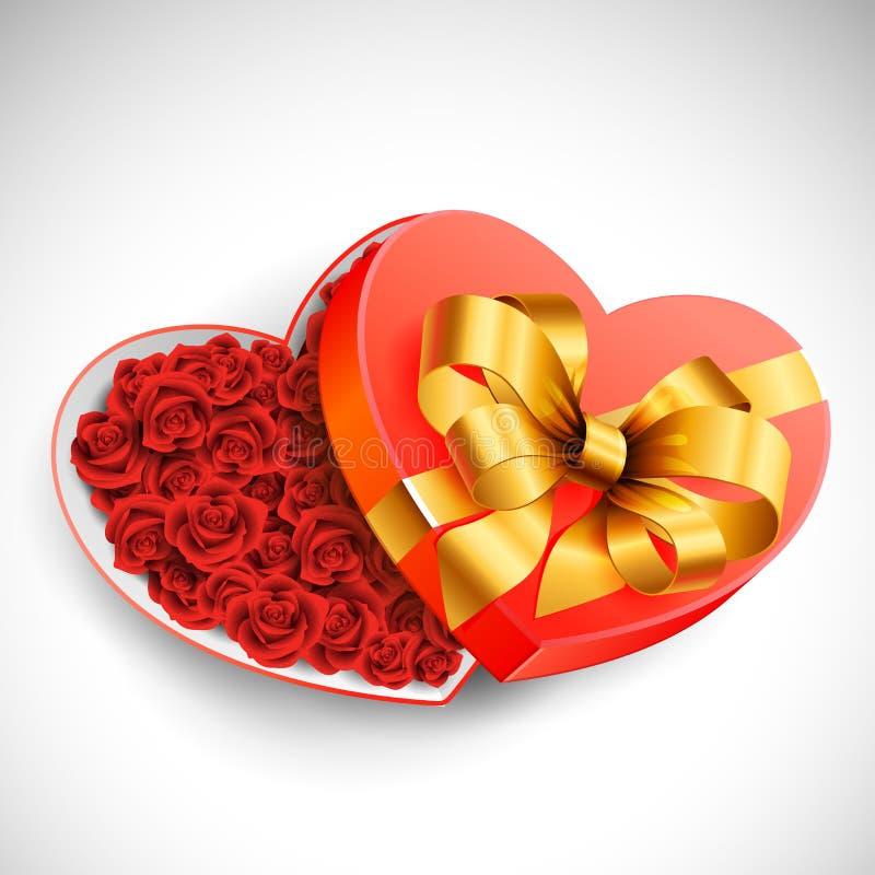 Valentinsgruß `s Kasten Rosen vektor abbildung