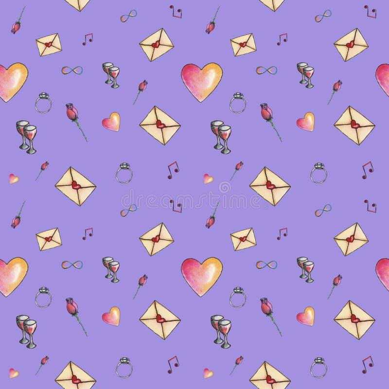 Valentinsgruß ` s nahtloses nettes Karikaturmuster gemacht mit Liebe lizenzfreies stockfoto
