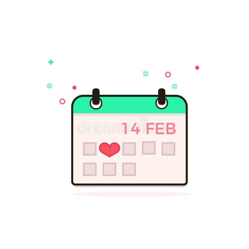 Valentinsgruß `s Tag februar Tag im Kalender Vektorbild des Kalenders Tragen Sie Ikone ein stock abbildung
