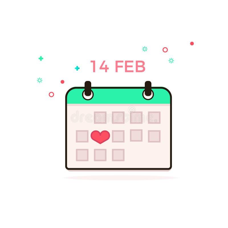 Valentinsgruß `s Tag februar Vektorbild des Kalenders Tragen Sie Ikone ein Bild des Kalenders unter Verwendung der tatsächlichen  vektor abbildung
