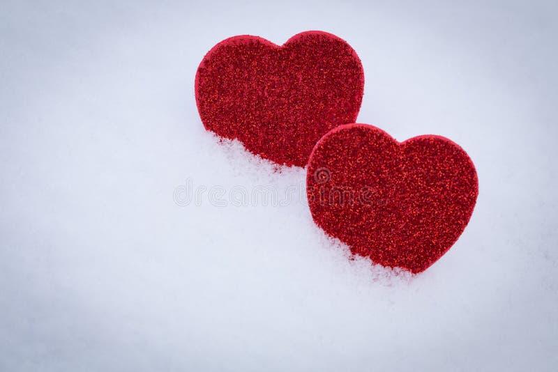 Valentinsgruß `s Tag Innere im Schnee stockfotografie