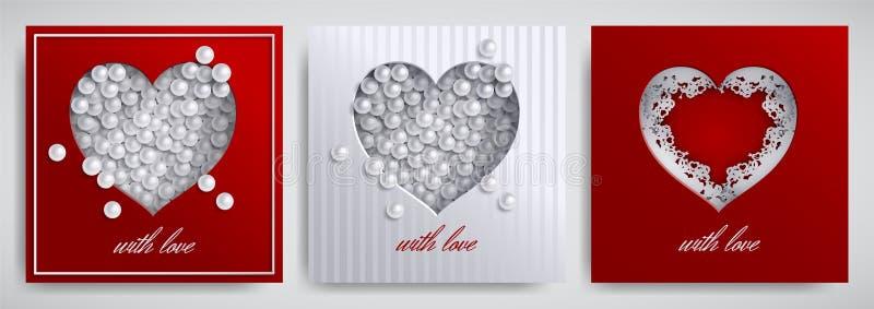 Valentinsgruß ` s Tag, Mutter ` s Tagesdesignsatz Grußkarte, Fahnensammlung Cutted tapezieren Herz mit Spitzeband, Perlen auf Sat lizenzfreie abbildung