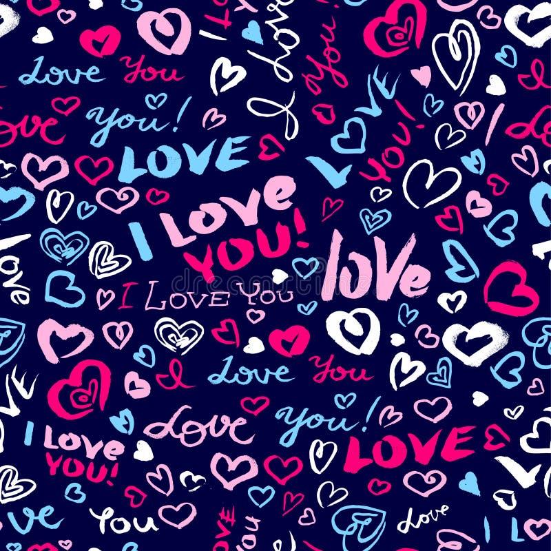 Valentinsgruß ` s Tag oder heiratendes nahtloses Muster mit Herzen und I Lo lizenzfreie abbildung