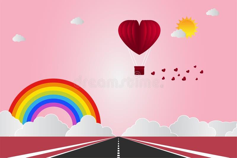 Valentinsgruß ` s Tag steigt in einem Herz geformten Fliegen über Grasansichthintergrund, Papierkunstart im Ballon auf Set der lu stock abbildung