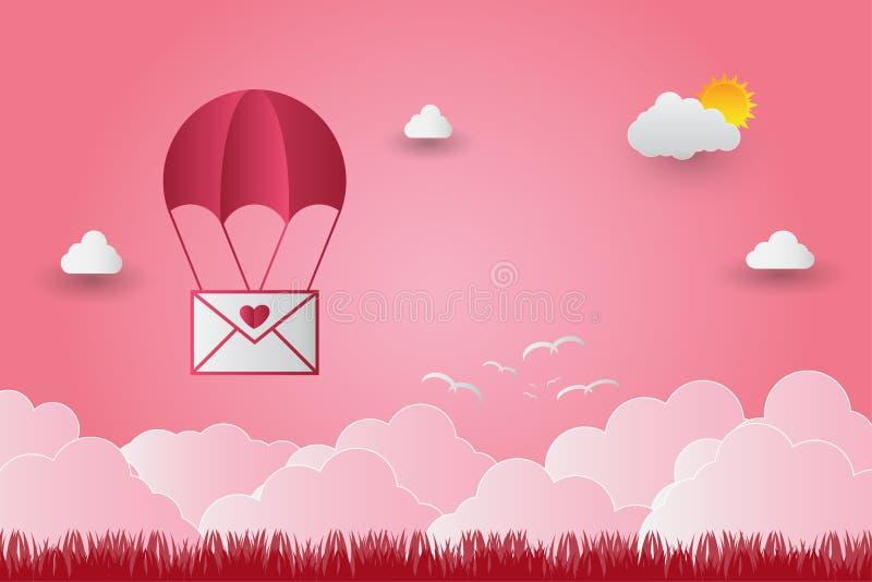 Valentinsgruß ` s Tag steigt in einem Herz geformten Fliegen über Grasansichthintergrund, Papierkunstart im Ballon auf Set der lu lizenzfreie abbildung