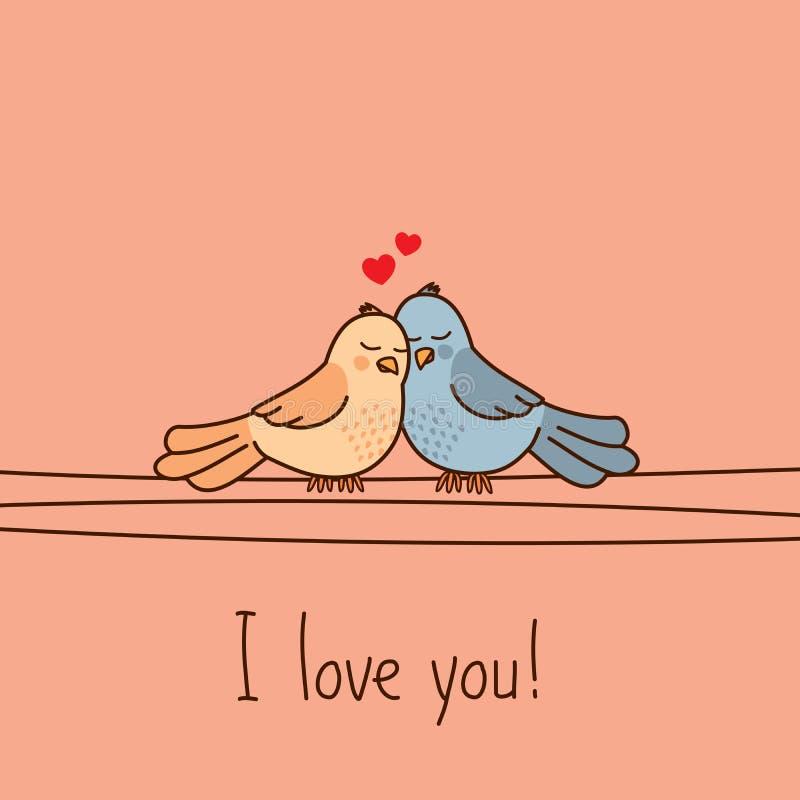 Valentinsgruß ` s Tagesgrußkarte mit zwei netten Karikaturwellensittichen stock abbildung