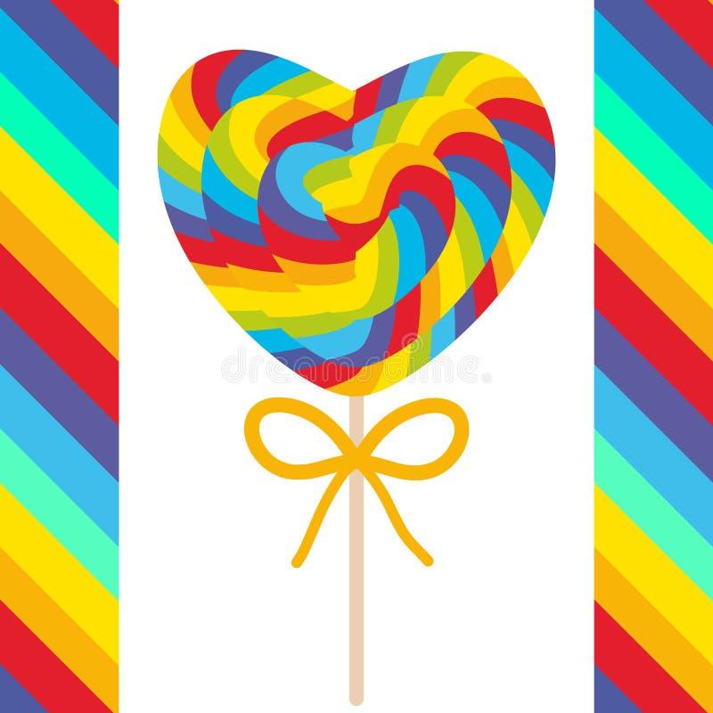 Valentinsgruß ` s Tagesherz formte Süßigkeitslutscher mit Bogen, bunte gewundene Zuckerstange mit hellen Regenbogenstreifen auf S stock abbildung