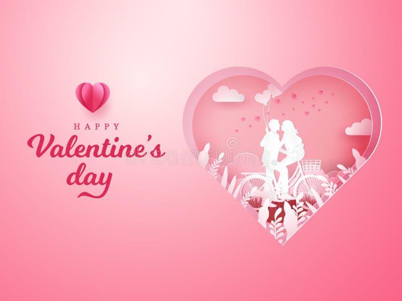 Valentinsgruß ` s Tageshintergrund Paare, die bei einem Fahrrad sitzen und sich schauen vektor abbildung