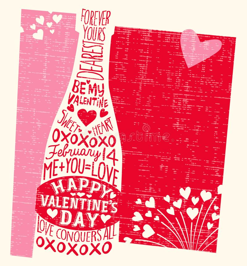 Valentinsgruß ` s Tageskarte mit Weinflasche, Herzen und handgeschriebenen Liebesphrasen vektor abbildung