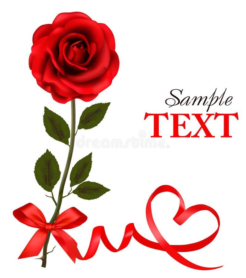 Valentinsgruß `s Tageskarte. Rote Rosen und roter Bogen des Geschenks. lizenzfreie abbildung