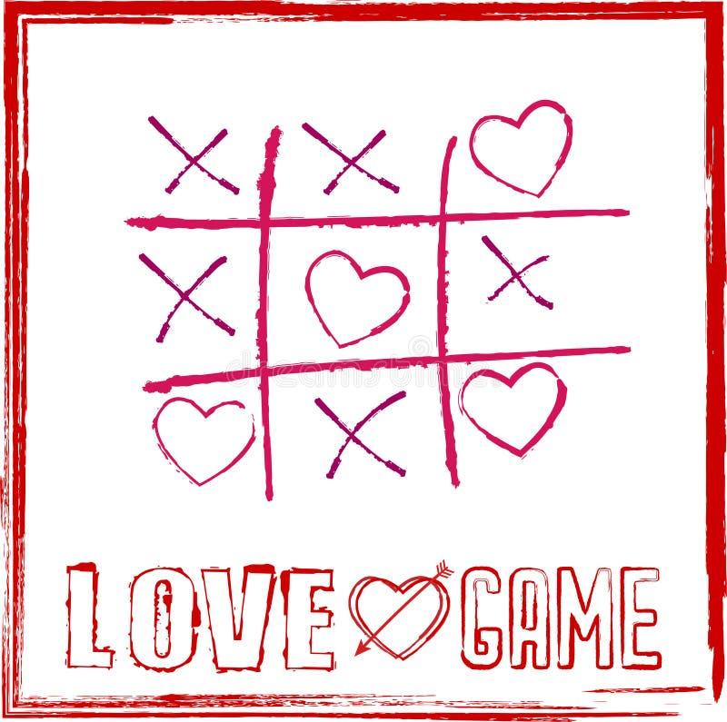 Valentinsgruß ` s Tageskartentic tac-Zehenspiel mit Herzen für Spiel des Liebeskonzeptes lizenzfreie abbildung