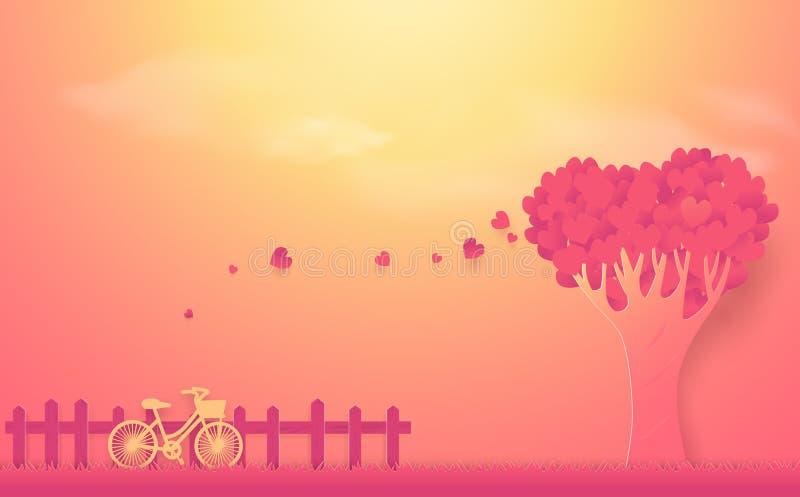 Valentinsgruß ` s Tageskonzept Baum gemacht aus Herzen und Fahrrad heraus lizenzfreie abbildung