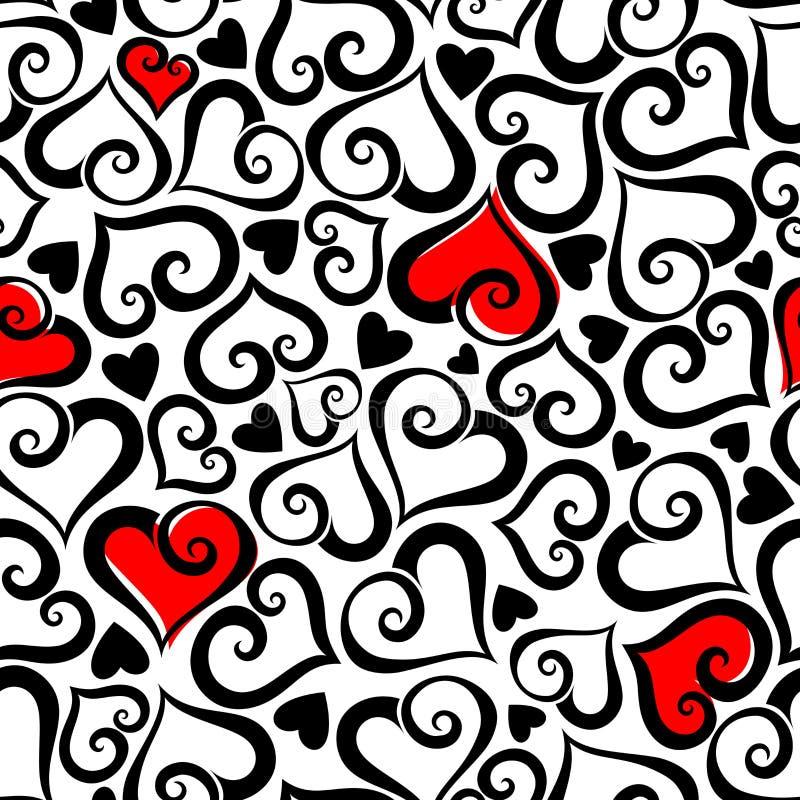 Valentinsgruß ` s Tagesnahtloses Muster mit Herzen Auch im corel abgehobenen Betrag vektor abbildung