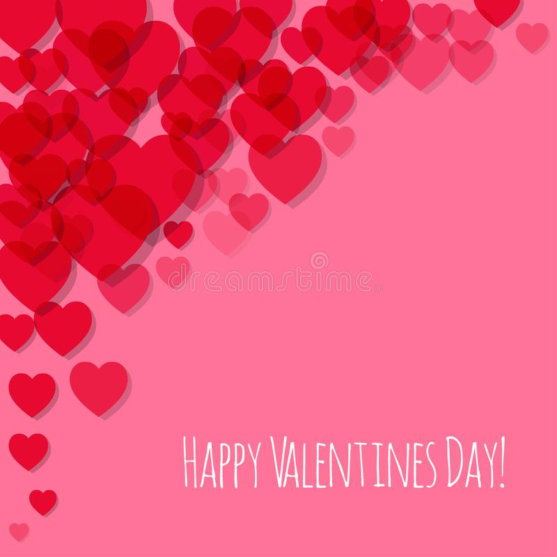 Valentinsgruß ` s Tagespostkarten-Rosa Herz in der Ecke auf einem Rose Hintergrund stock abbildung