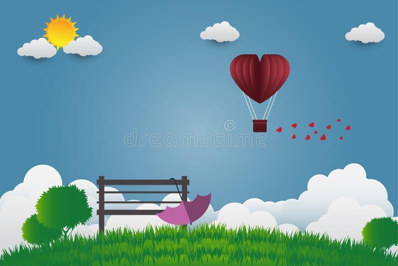 Valentinsgruß ` s Tagesregenschirm mit Stuhl steigt in einem Herz geformten Fliegen über Grasansichthintergrund, Papierkunstart i stock abbildung