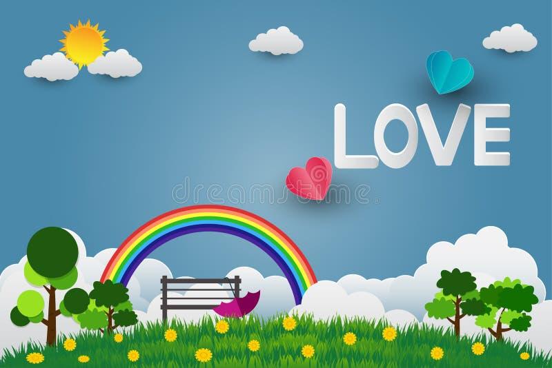 Valentinsgruß ` s Tagesregenschirm mit Stuhl steigt in einem Herz geformten Fliegen über Grasansichthintergrund, Papierkunstart i vektor abbildung