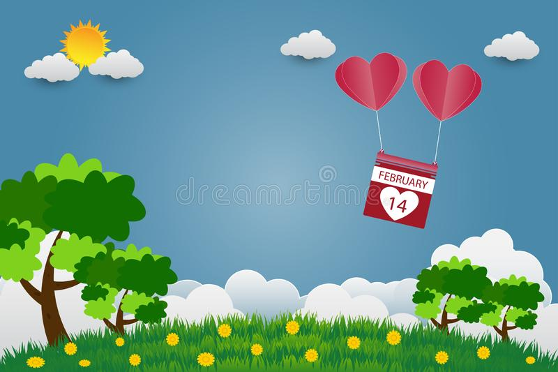 Valentinsgruß ` s Tagesregenschirm mit Stuhl steigt in einem Herz geformten Fliegen über Grasansichthintergrund, Papierkunstart i lizenzfreie abbildung