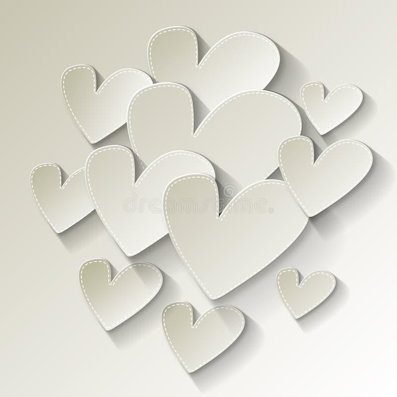 Valentinsgruß ` s Tagesweißbuchherz auf einem weißen Hintergrund lizenzfreie abbildung