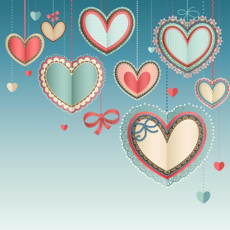 Valentinsgruß `s Tagesweinlesekarte lizenzfreie abbildung