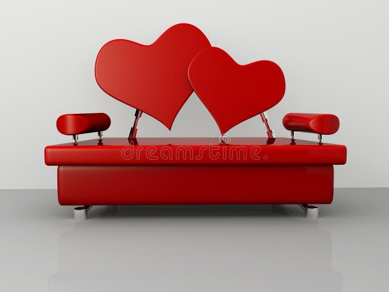 Valentinsgruß-Sofa stock abbildung