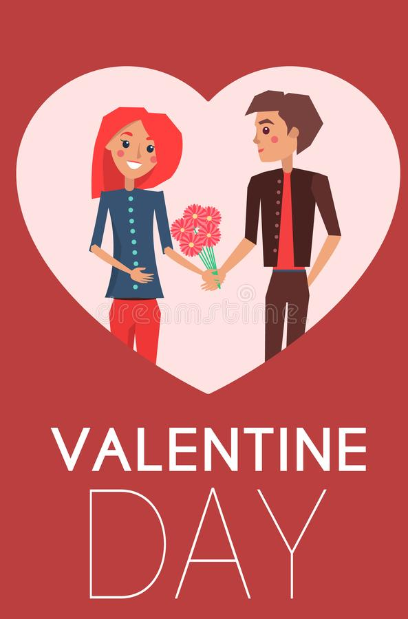 Valentinsgruß-Tag-Conceptul-Plakat mit Datierungs-Paaren vektor abbildung