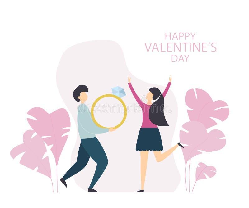 Valentinsgruß-Tag mit glücklicher Frau und Mann mit Ring lizenzfreie abbildung