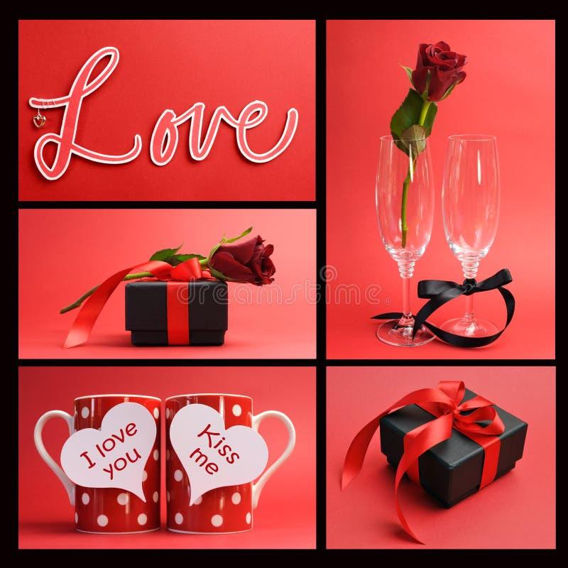 Valentinsgruß-Tag oder Liebesthemacollage stockbilder