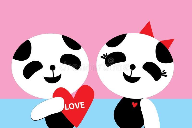 Valentinsgruß-Tag, romantischer LIEBE Panda 22 vektor abbildung