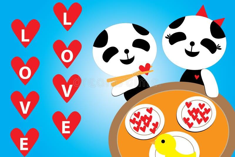 Valentinsgruß-Tag, romantisches Blau Pandas Liebe des Abendessens am 14. Februar stock abbildung