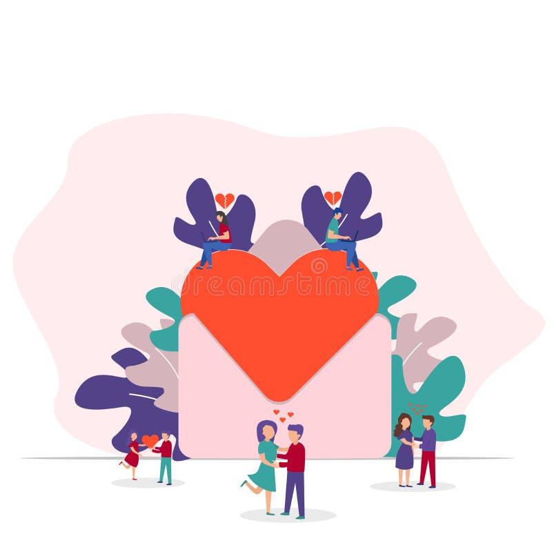 Valentinsgruß-Tagescharakter-Konzept, romantischer Hintergrund Großer Umschlag mit rotem Herzen und kleinen Leuten Auch im corel  stock abbildung